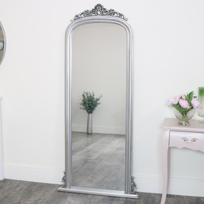 Tall Silver Ornate Vintage Wall / Leaner Mirror 80cm x 180cm