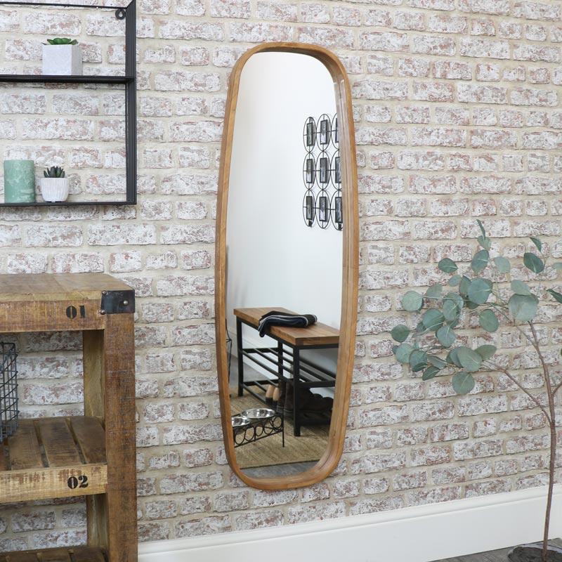 Tall Slim Curved Wooden Mirror 40cm x 120cm