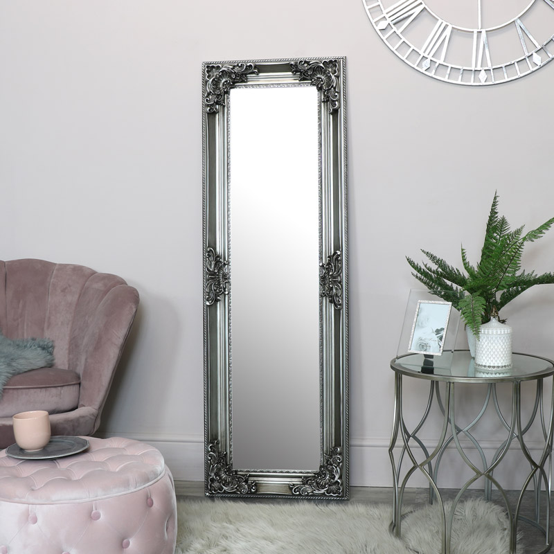 Tall Slim Silver Ornate Wall Mirror