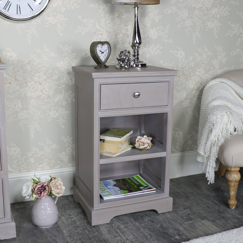Taupe 1 Drawer Bedside Cabinet - Cambridge Range