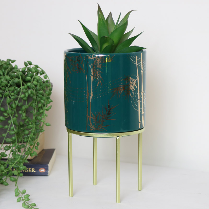 Teal & Gold Leaf Planter