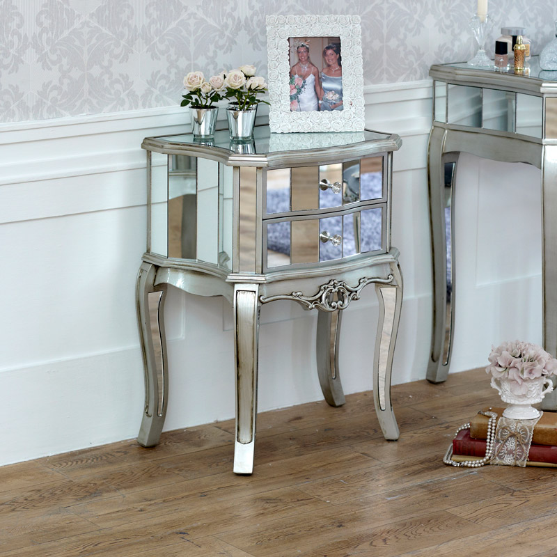 Mirrored 2 Drawer Bedside Lamp Table - Tiffany Range