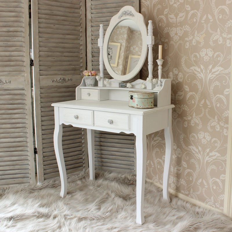 White wooden dressing table set mirror shabby french chic for Small mirrored dressing table set
