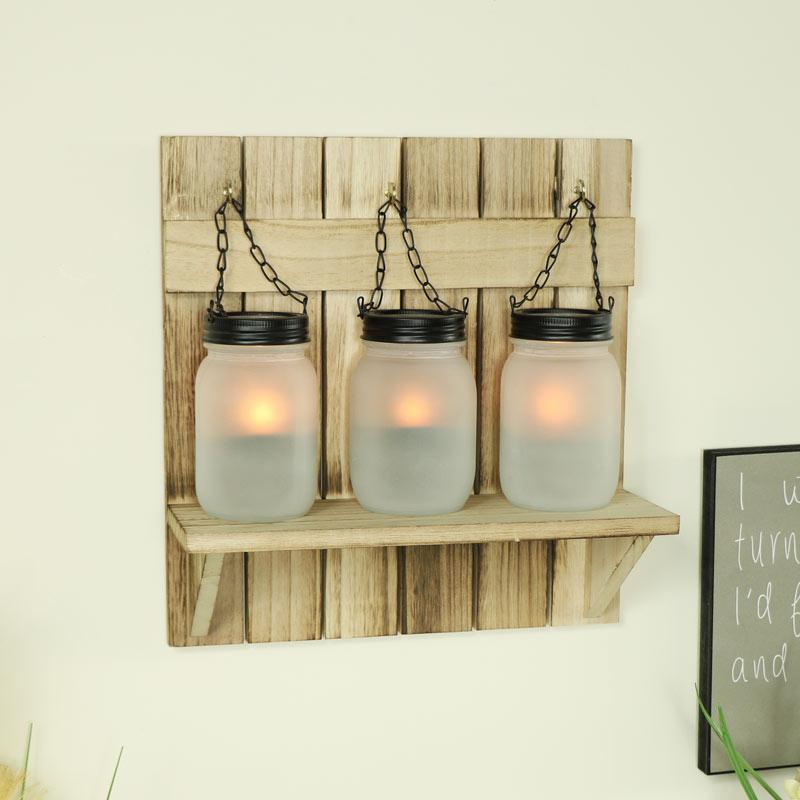 Triple Mason Jar Tealight Candle Holder