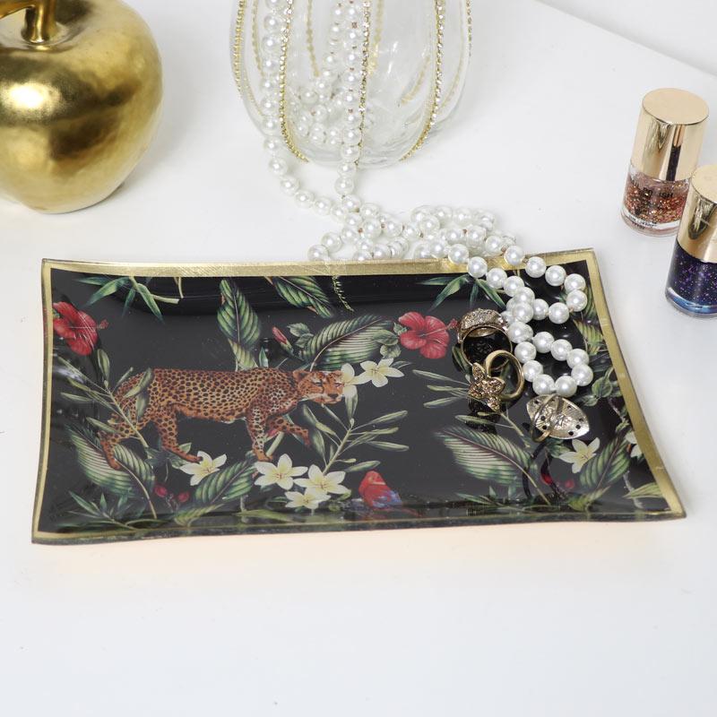 Tropical Leopard Glass Trinket Tray