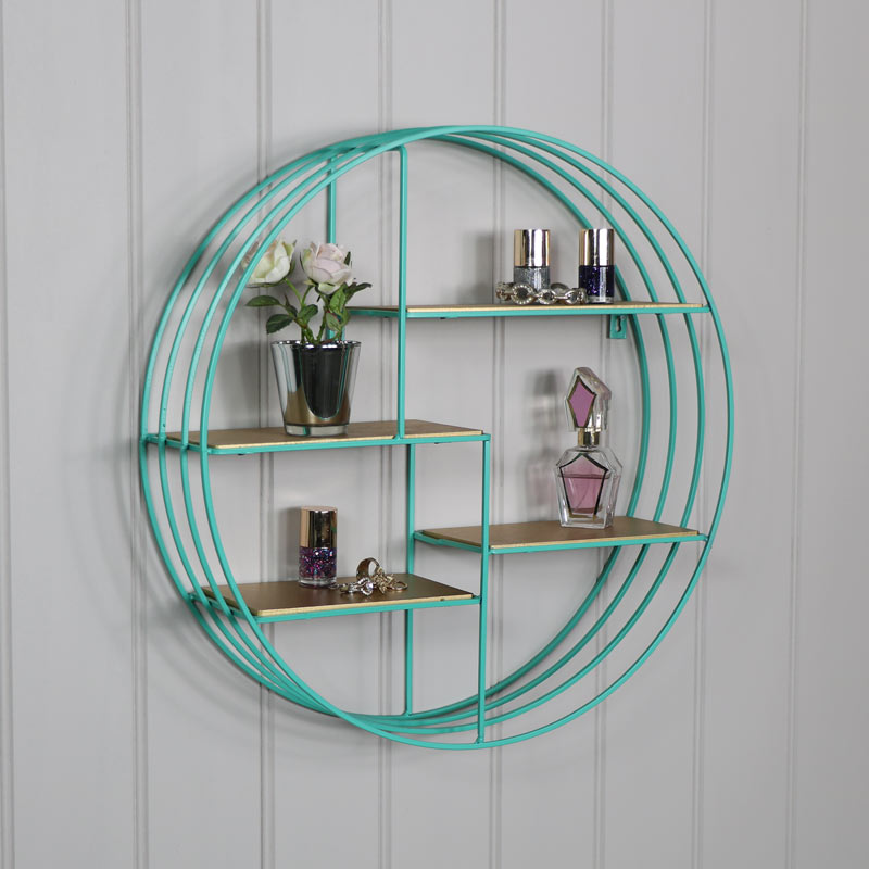 Round turquoise metal wire gold wall shelves bedroom living room ...
