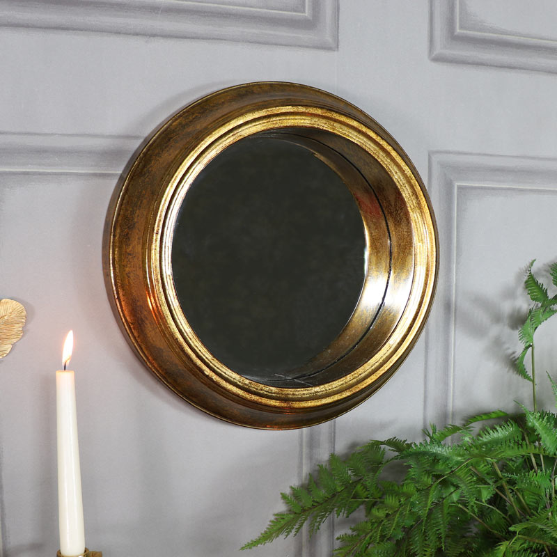 Vintage Antique Gold Round Wall Mirror 37cm x 37cm ...