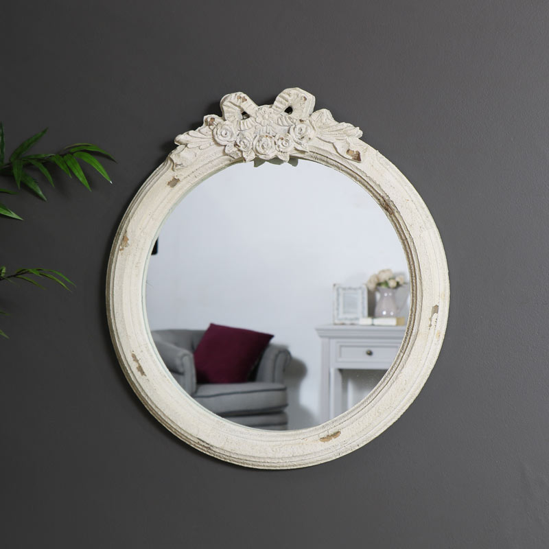 Vintage Cream Rose & Bow Wall Mirror
