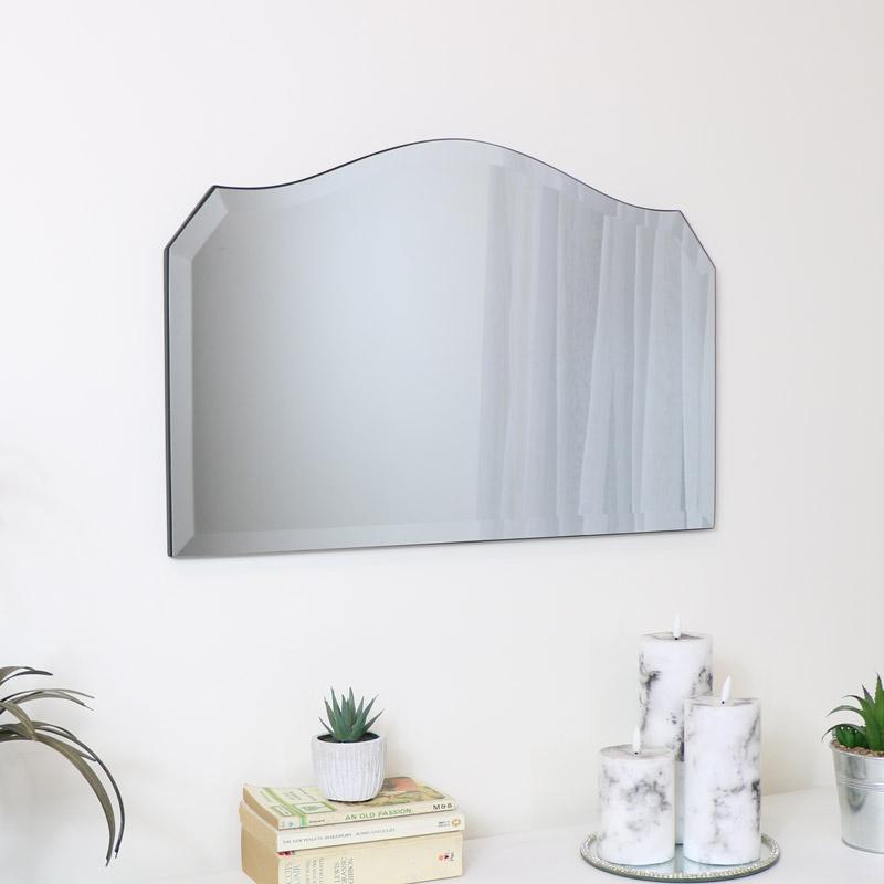 Vintage Curved Frameless Free Standing Mirror 40cm x 60cm