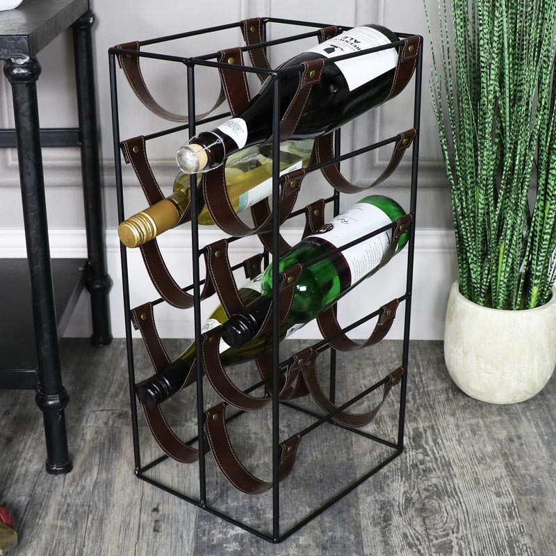 Black metal Leatherette 10 bottle Wine Rack