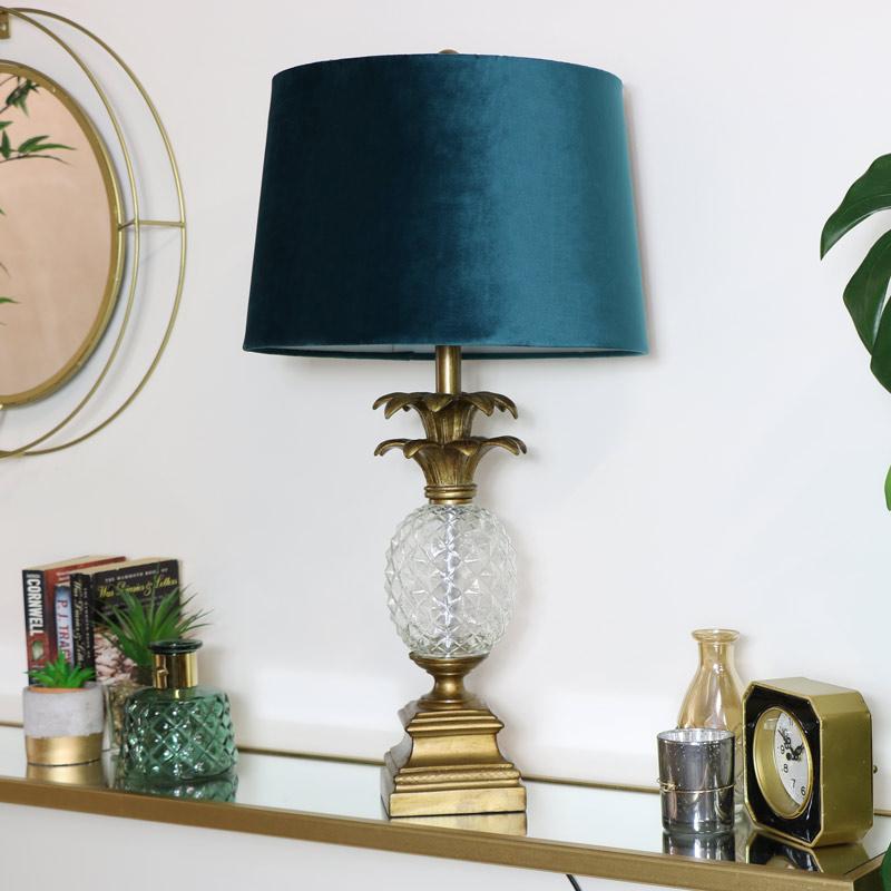 Sur Base Jour Coupe Abat Éclairage Chevet Verre Ananas Détails Or Bleu Lampe Vintage kOPiZXu