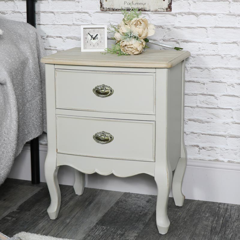 Vintage Grey 2 Drawer Bedside Chest Lamp Table - Albi Range