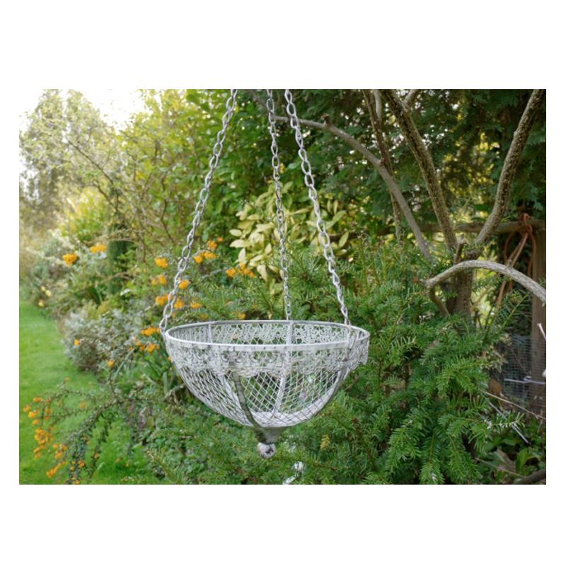 Vintage Grey Metal Hanging Basket