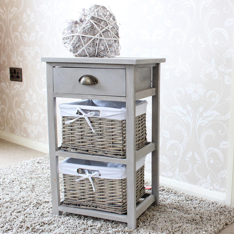 Vintage Grey Wooden One Drawer Wicker Basket Tall Storage Unit Chest Bedside