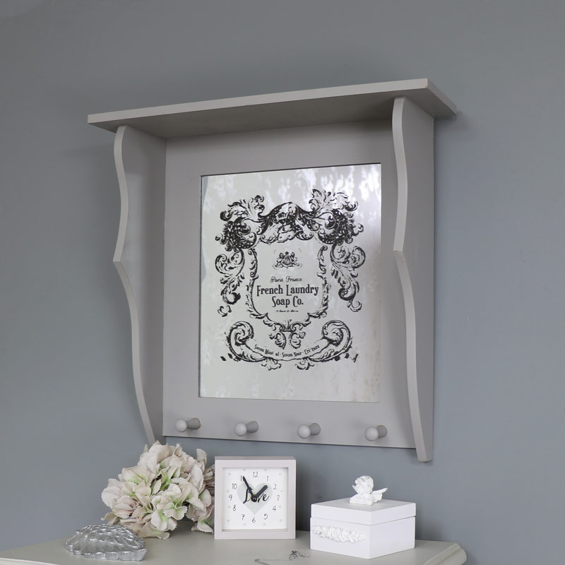 Wall Mounted Grey Bathroom Mirror Shelf Hooks Vintage French Country Vanity Ebay