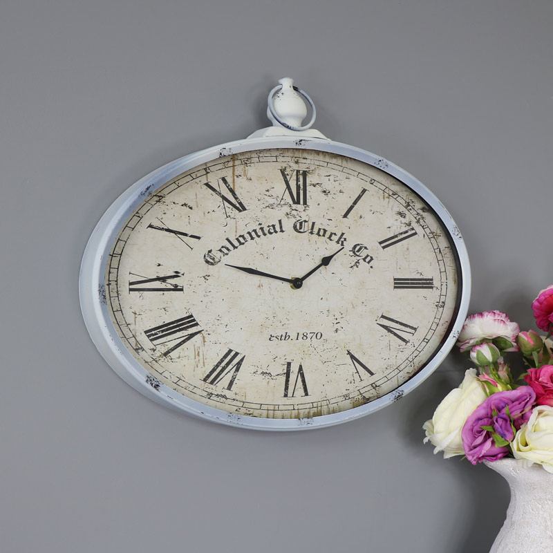 Vintage Oval Pocket Watch Style Wall Clock
