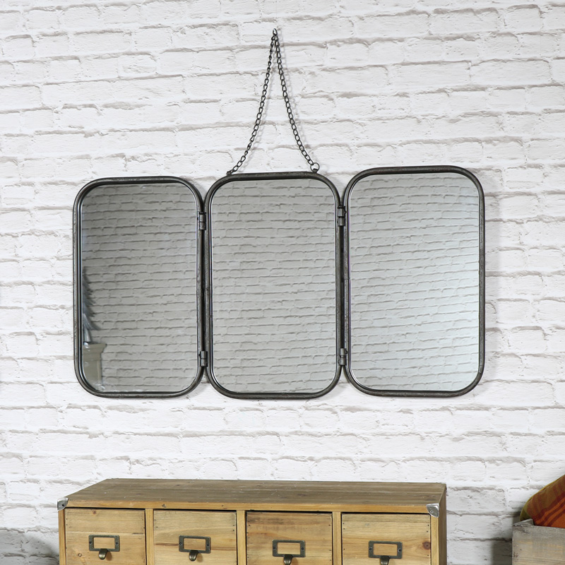 Vintage Retro 3 Panelled Wall Mirror 86cm x 46.5cm