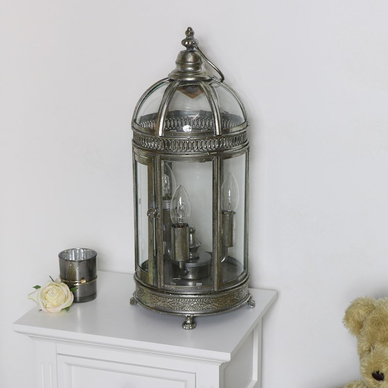 Vintage Silver Lantern Style Table Lamp