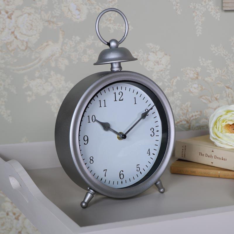 Vintage Silver Mantel Clock