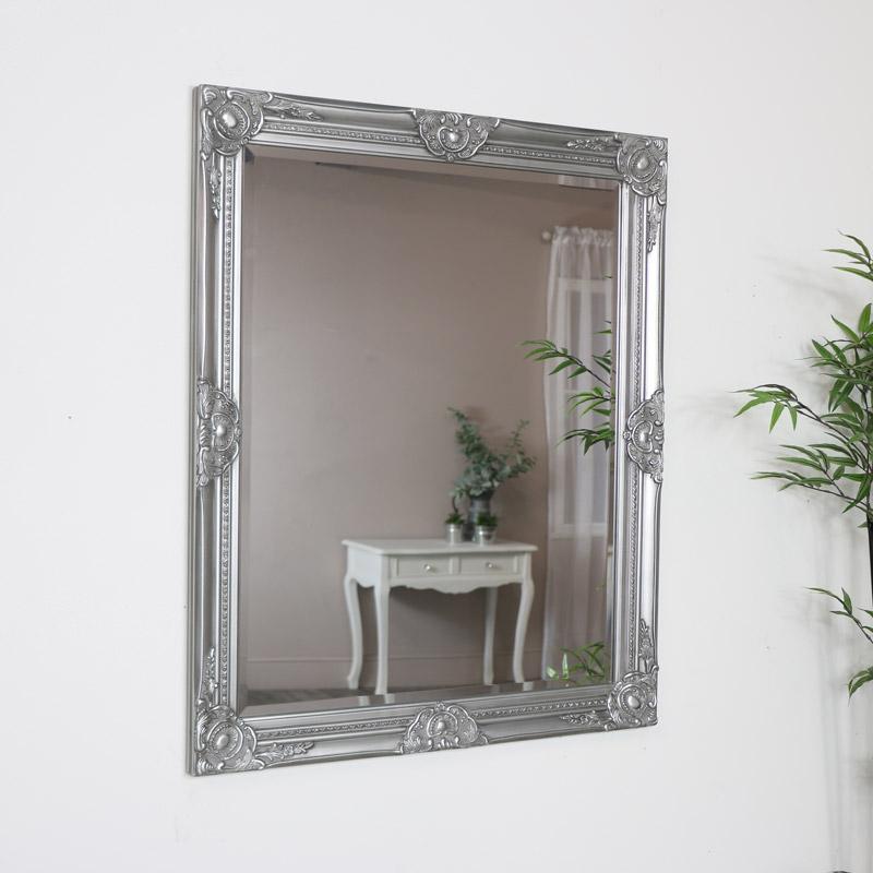 Vintage Silver Ornate Wall Mirror 74cm x 90cm