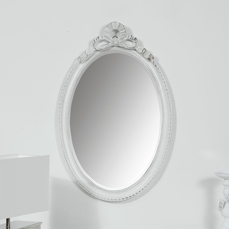 Vintage White Oval Wall Mirror 49cm x 76cm