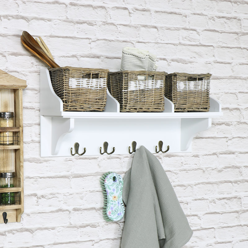 Wall Mountable Storage Hooks With 3 Wicker Baskets