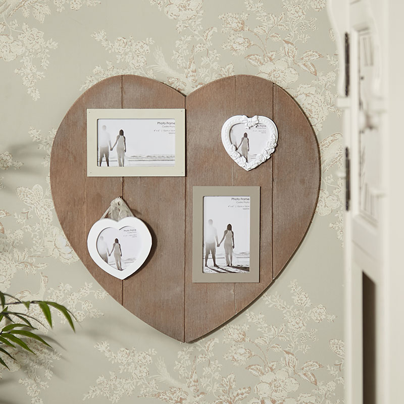 Wall Mounted Wooden Heart Multi Photo Frame
