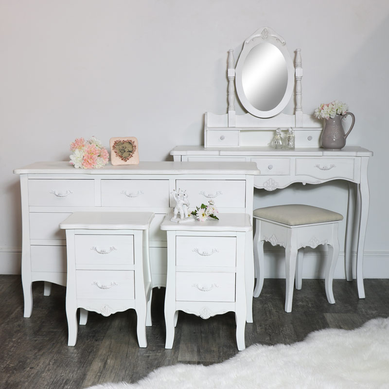 White Bedroom Furniture Set Chest Drawers Dressing Table Set Pair