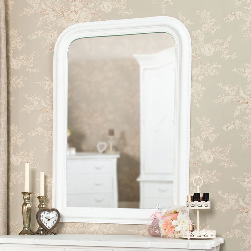 White Arched Beaded Wall Mounted Mirror