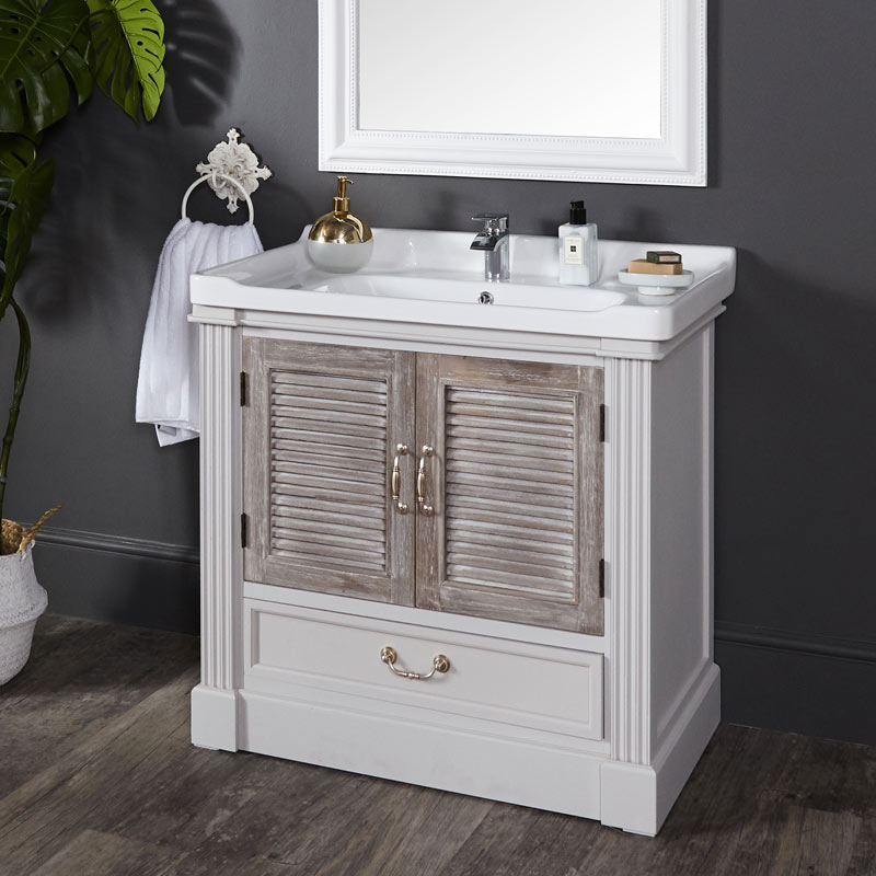 White Bathroom Vanity Unit - Fearn Range