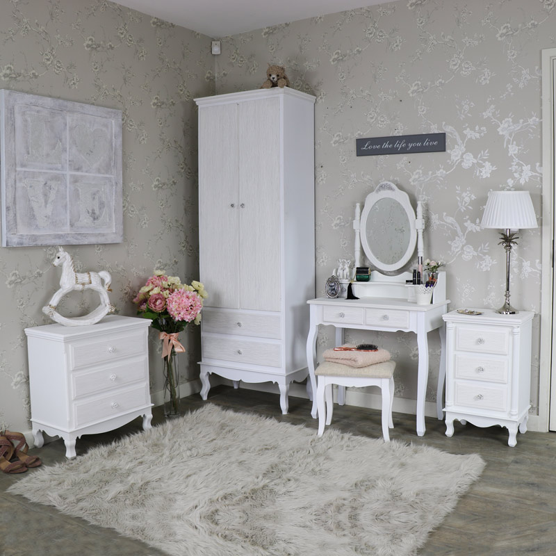 White Bedroom Furniture, Wardrobe, Chest of Drawers, Bedside Chest and Dressing Table Set - Lila Range