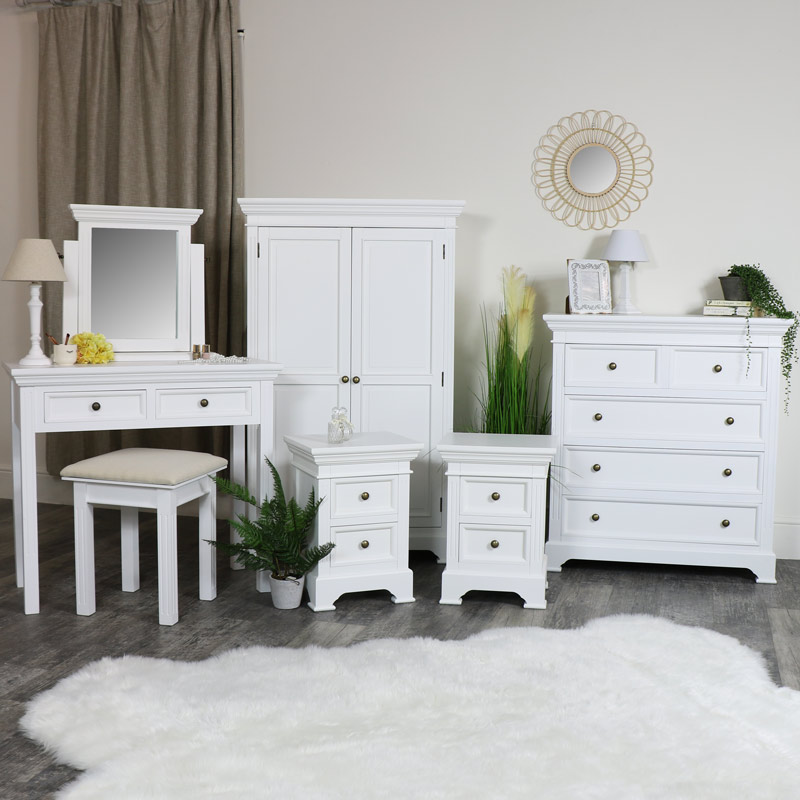 White Bedroom Furniture, Linen Closet/Low Wardrobe, Chest of Drawers, Dressing Table Set and Pair of Bedside Chests - Daventry White Range
