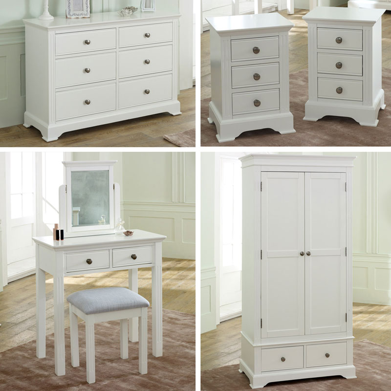 White Bedroom Furniture, Wardrobe, Large Chest of Drawers, Dressing Table Set & Bedside Tables - Davenport White Range