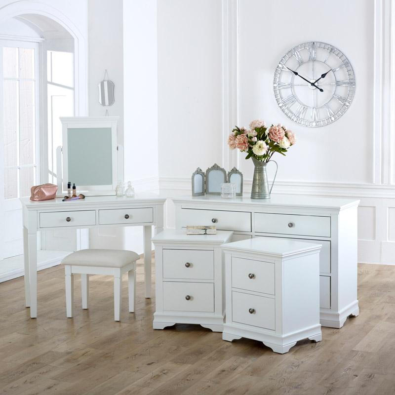 White Bedroom Set, Large Chest of Drawers, Dressing Table & Bedside Tables - Newbury White Range