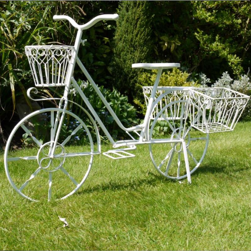 White Bicycle Mutli Basket Garden Planter