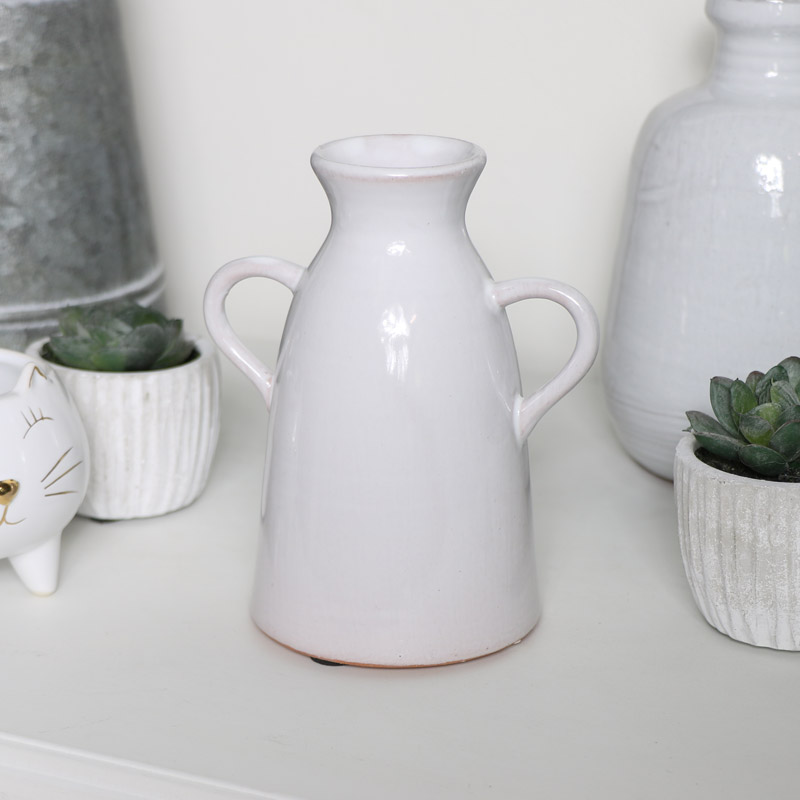 White Ceramic Jug Style Candle Holder
