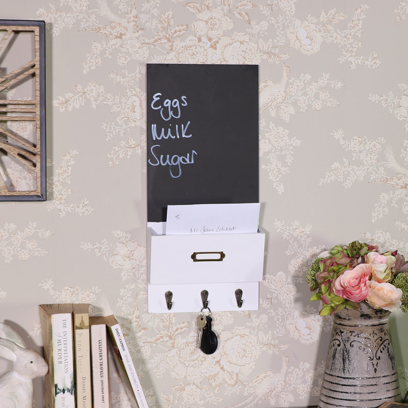 White Chalk Board Organiser with Key Hooks