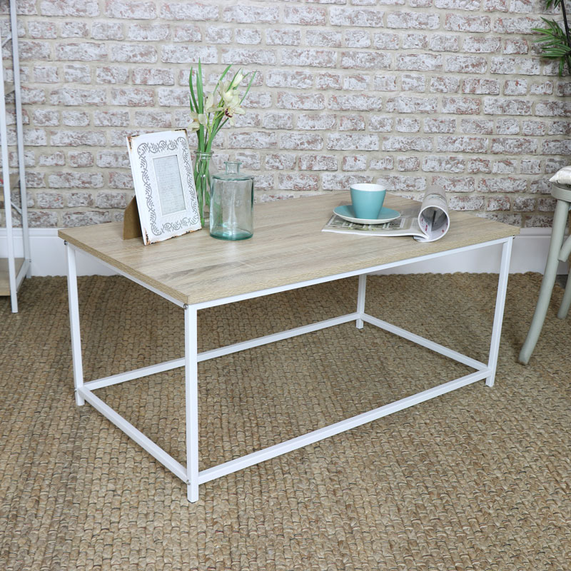 Details about White metal coffee table living room furniture minimalist  modern home decor