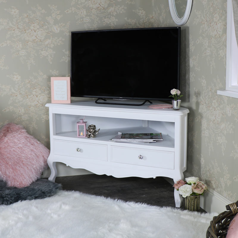 kunstvoll wei es holz eck tv schrank st nder klassisch franz sisch ebay. Black Bedroom Furniture Sets. Home Design Ideas
