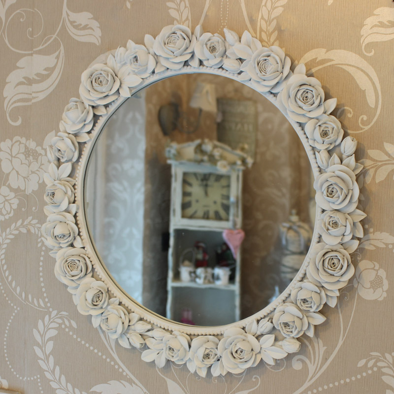 White decorative rose wall mirror bedroom hallway porch for Fancy white mirror