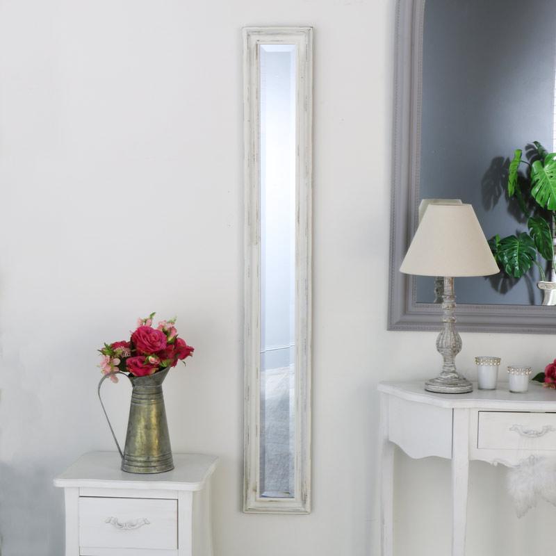 White Distressed Wall Mounted Narrow Mirror