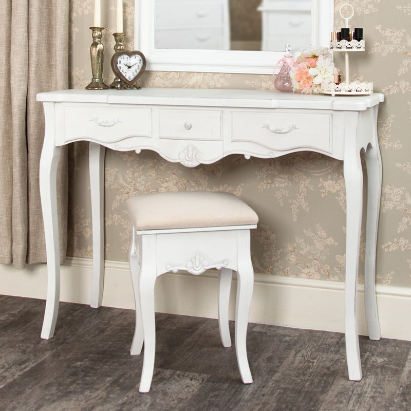 White Dressing Table and Stool Set - Jolie Range