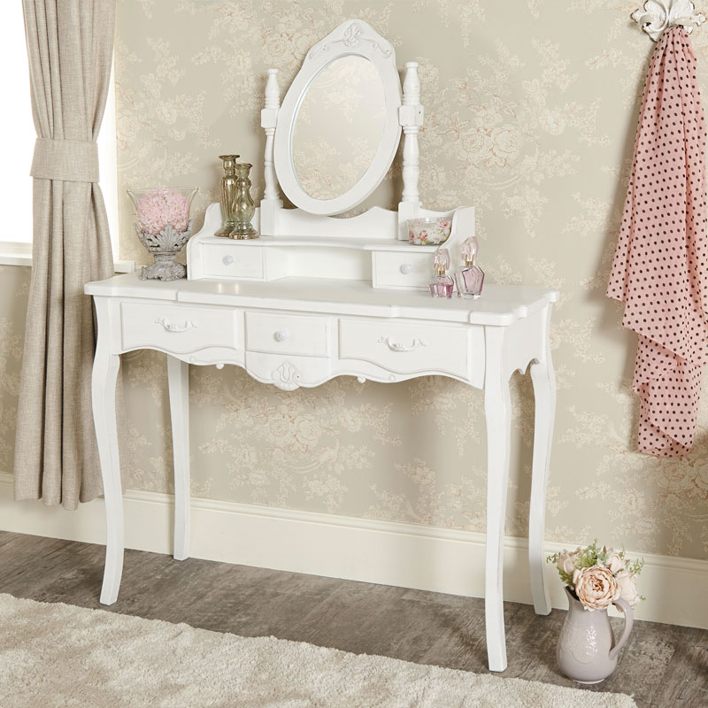 White Dressing Table and Vanity Mirror Set - Jolie Range