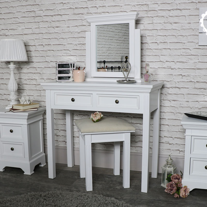 White Dressing Table Set Mirror Stool Vanity Vintage Country Bedroom