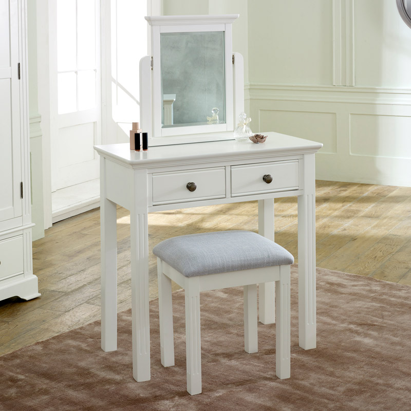 Details about White painted dressing table swing mirror stool bedroom  furniture set home decor
