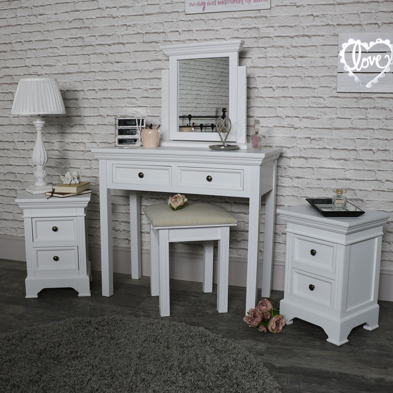 finest selection acb0c 26fd5 White wood dressing table mirror stool pair bedside tables bedroom  furniture set | eBay