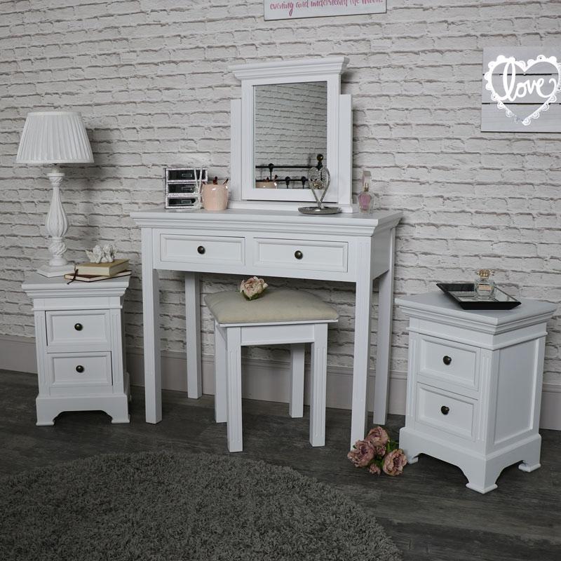 wei schminktisch spiegel stuhl set 2 nachttisch kisten schlafzimmer m bel ebay. Black Bedroom Furniture Sets. Home Design Ideas