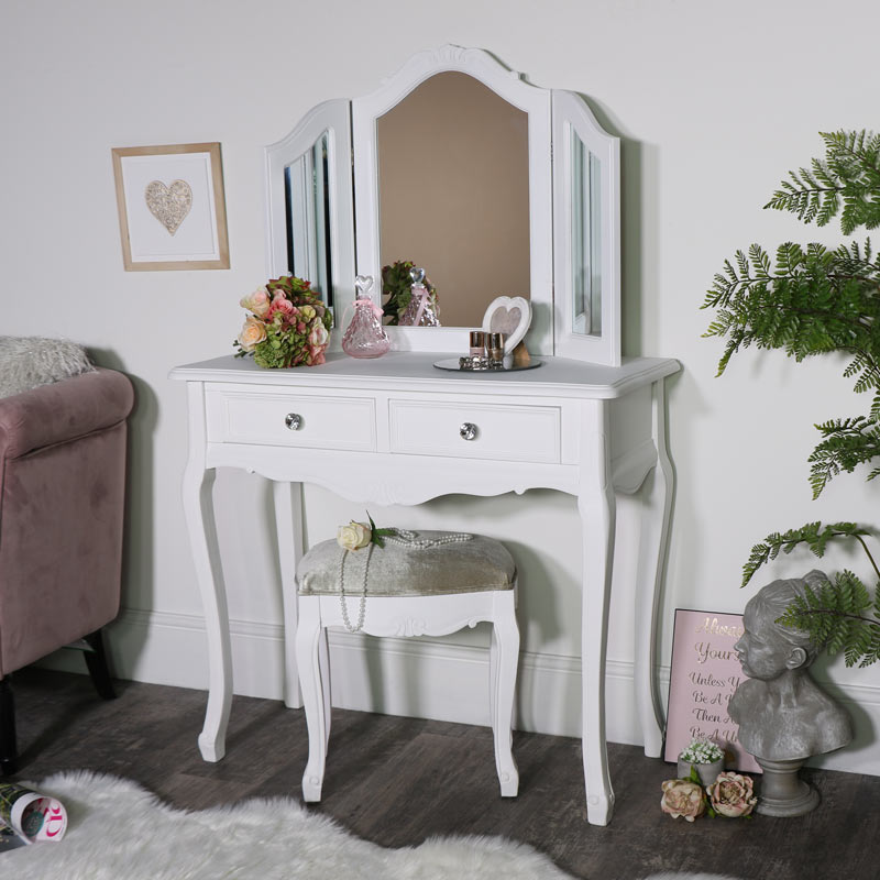 huge inventory 64b6d 3979f Details about White dressing table set with mirror stool shabby chic French  bedroom furniture