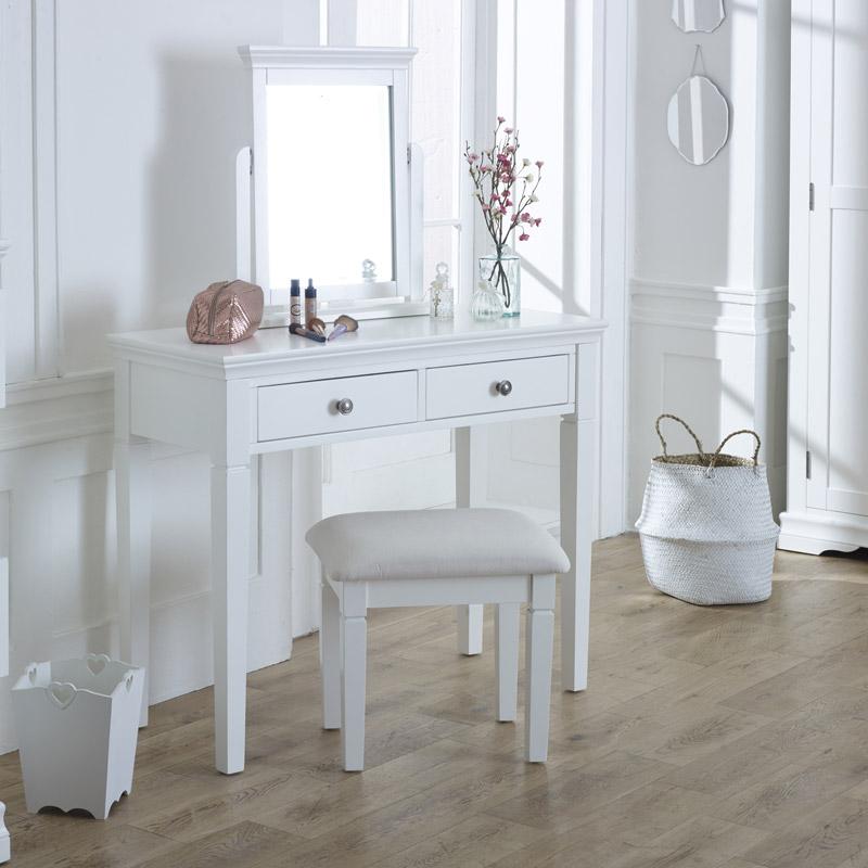 Details about White Dressing Table, Vanity Mirror & Stool Set Newbury White  white bedroom