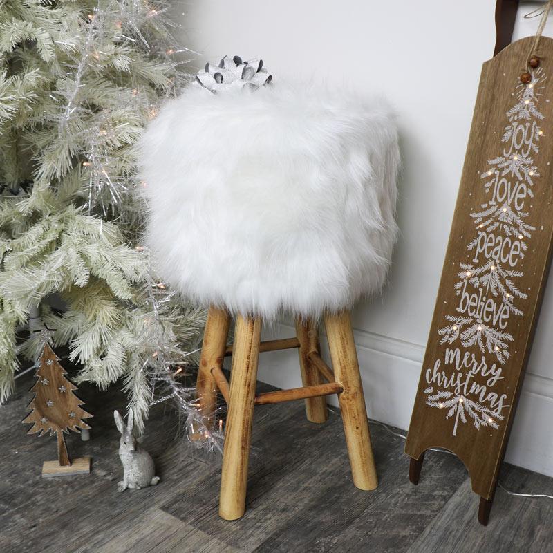 White Faux Fur Upholstered Stool
